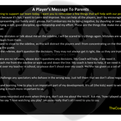 A Players Message To Parents